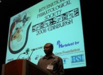 Jean Robert Onononga presents at the International Society of Primatology